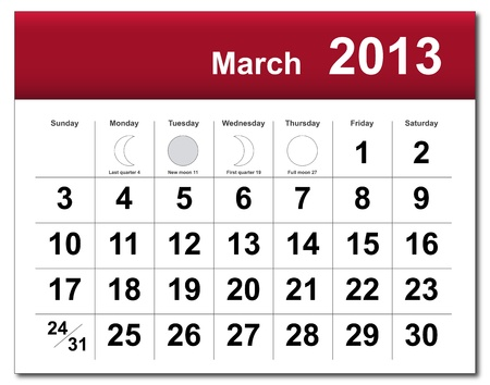 March 2013 calendar.  Stock Vector - 14856361