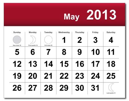 May 2013 calendar.  Vector