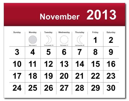 November 2013 calendar.  Stock Vector - 14856366