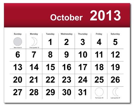 October 2013 calendar.  Illustration