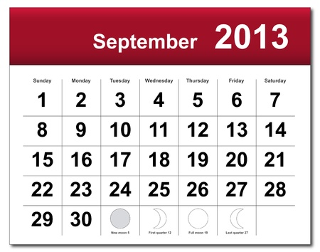 September 2013 calendar. Stock Vector - 14856369