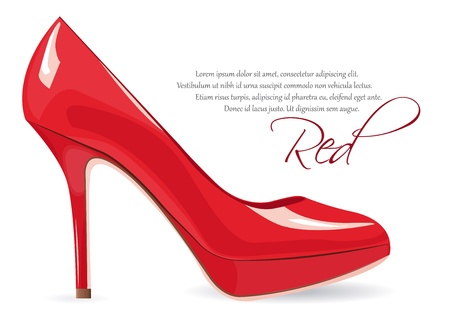 high heel shoes: Red high-heeled shoe over white with space to your own text Illustration