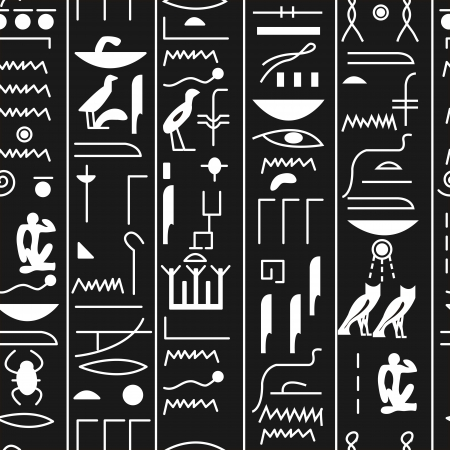 EPS10 file. Seamless vector hieroglyph over black background Stock Vector - 14958389