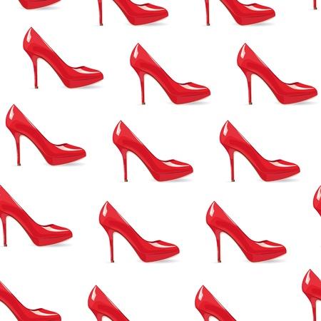 EPS10 bestand. Rode hoge hakken schoen naadloze achtergrond