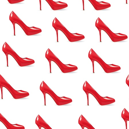 EPS10 file. Red high-heeled shoe seamless background Vector