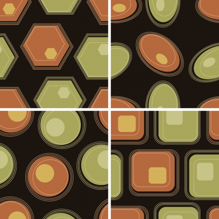 Eps10 file. Vector set of four seamless retro geometric pattern