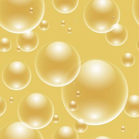 jabon liquido: burbujas sin costura sobre fondo dorado Vectores