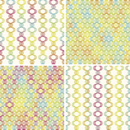 EPS 10 vector file. Set of four colorful geometric lines seamless background pattern  Illustration