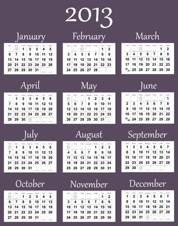 2013 calendar with phases of the moon