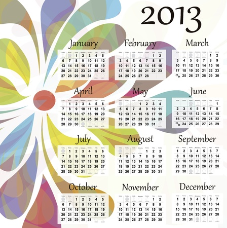2013 calendar. Beautiful and colorful design over white. Raster version is in my portfolio.