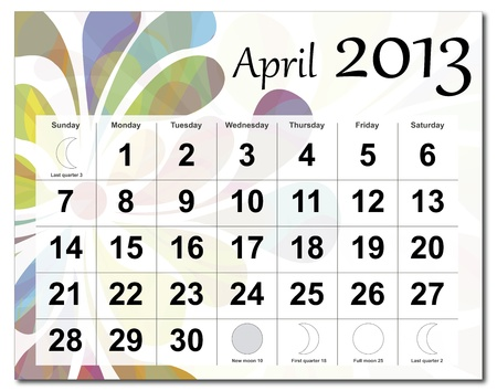 April 2013 calendar. Beautiful and colorful design over white. Raster version is in my portfolio. Vector