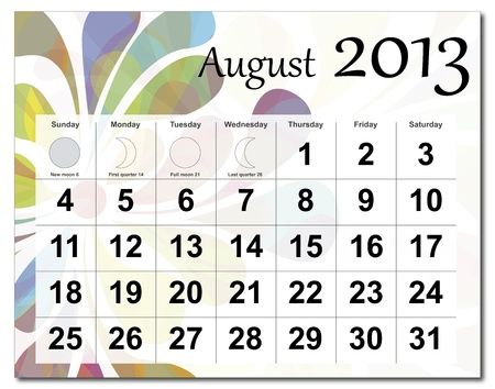 August 2013 calendar. Beautiful and colorful design over white. Raster version is in my portfolio. Stock Vector - 15449820
