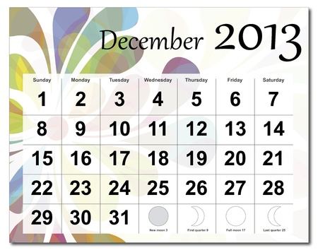 December 2013 calendar. Beautiful and colorful design over white. Raster version is in my portfolio. Stock Vector - 15449819