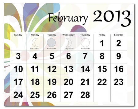 February 2013 calendar. Beautiful and colorful design over white. Raster version is in my portfolio. Vector
