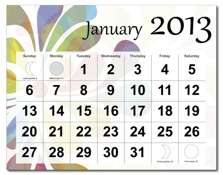 January 2013 calendar. Beautiful and colorful design over white. Raster version is in my portfolio. Stock Vector - 15450218