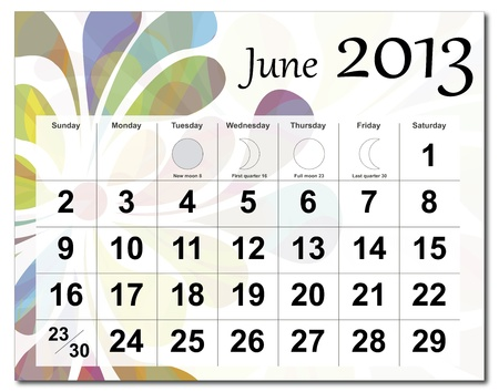 June 2013 calendar. Beautiful and colorful design over white. Raster version is in my portfolio. Vector