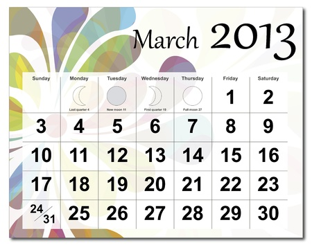 March 2013 calendar. Beautiful and colorful design over white. Raster version is in my portfolio. Stock Vector - 15450216