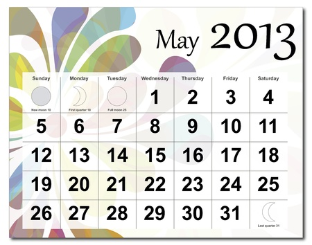 May 2013 calendar. Beautiful and colorful design over white. Raster version is in my portfolio. Stock Vector - 15450215