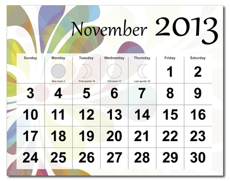November 2013 calendar. Beautiful and colorful design over white. Raster version is in my portfolio. Stock Vector - 15450219