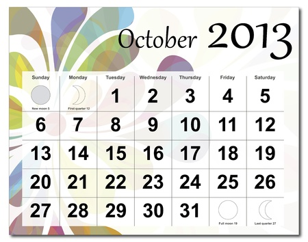 October 2013 calendar. Beautiful and colorful design over white. Raster version is in my portfolio. Stock Vector - 15450217