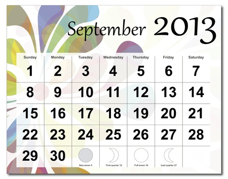 September 2013 calendar. Beautiful and colorful design over white. Raster version is in my portfolio. Vector