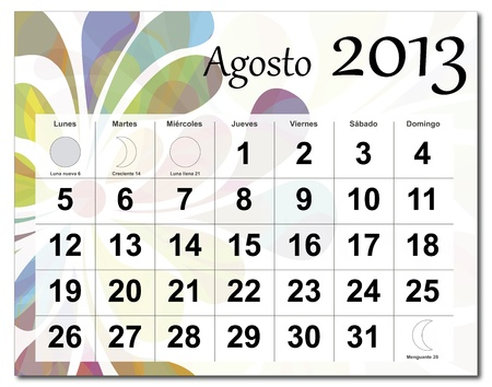 Spanish version of August 2013 calendar. Beautiful and colorful design over white. Raster version is in my portfolio. Vector