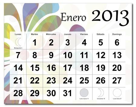 January 2013 calendar Illustration