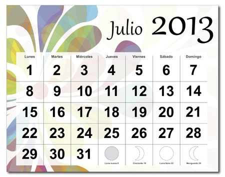 Spanish version of July 2013 calendar. Beautiful and colorful design over white. Raster version is in my portfolio. Stock Vector - 15703141