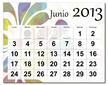 Spanish version of June 2013 calendar. Beautiful and colorful design over white. Raster version is in my portfolio. Stock Vector - 15703148