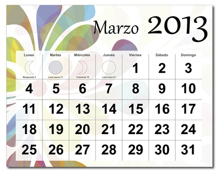 Spanish version of March 2013 calendar. Beautiful and colorful design over white. Raster version is in my portfolio. Vector