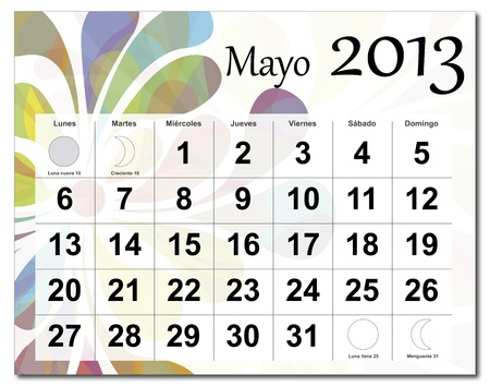 Spanish version of May 2013 calendar. Beautiful and colorful design over white. Raster version is in my portfolio. Vector