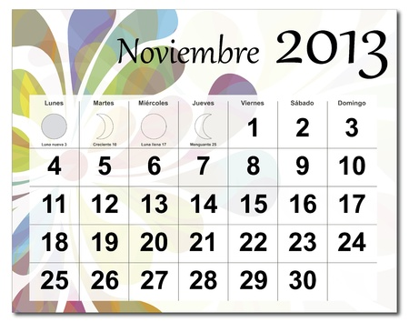 Spanish version of November 2013 calendar. Beautiful and colorful design over white. Raster version is in my portfolio. Stock Vector - 15703180