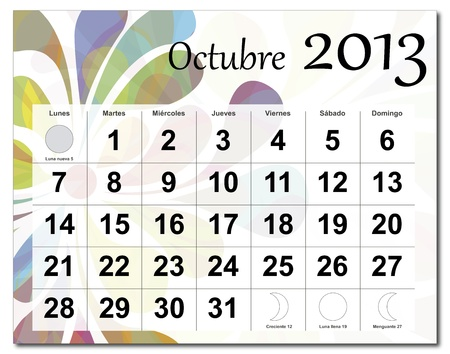 Spanish version of October 2013 calendar. Beautiful and colorful design over white. Raster version is in my portfolio. Stock Vector - 15702872