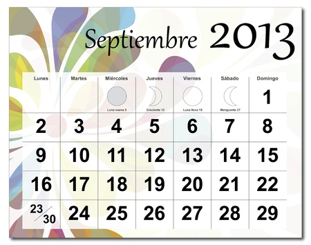Spanish version of September 2013 calendar. Beautiful and colorful design over white. Raster version is in my portfolio. Stock Vector - 15703188