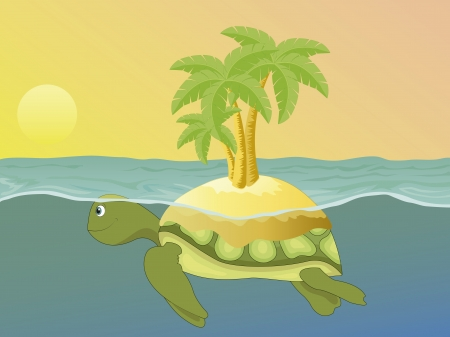 Island on the back of a sea turtle, swimming at sunset Vector