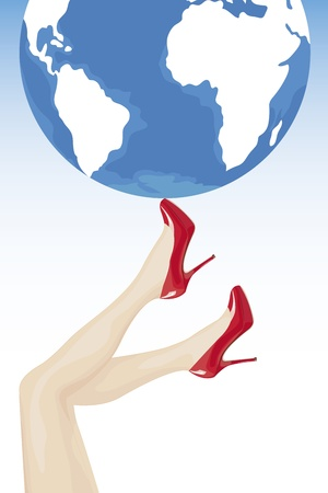 Female legs in high heels holding the world Stock Vector - 16675541