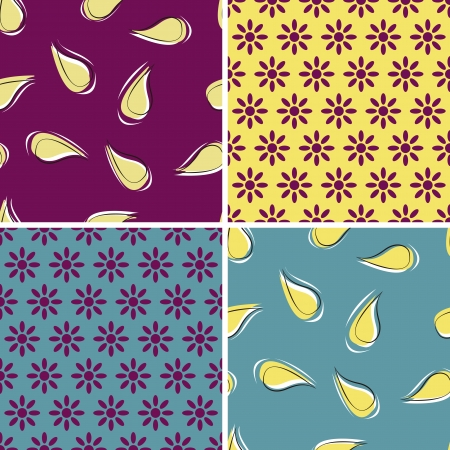 set of four seamless pattern with floral decoration Stock Vector - 17242588