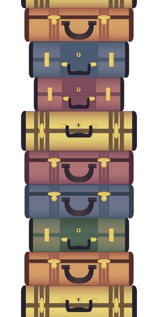 luggage airport: Vintage suitcases horizontal seamless pattern Illustration