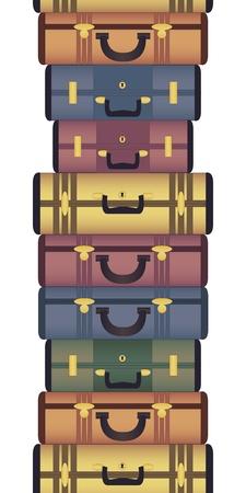 baggage: Weinlesekoffer horizontale nahtlose Muster Illustration