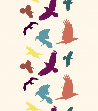 EPS 10 vector file. Colourful birds silhouettes vertical seamless pattern Vector