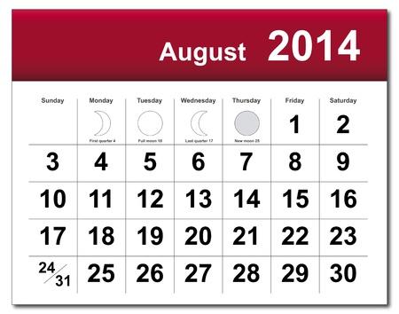 August 2014 calendar.  Stock Vector - 21643834