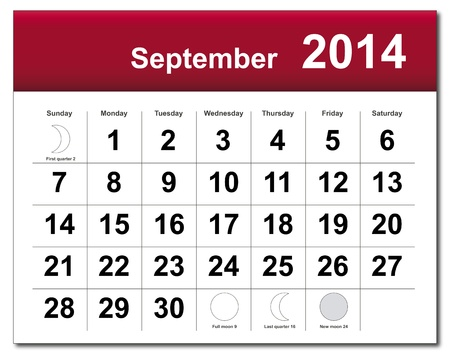 September 2014 calendar.  Stock Vector - 21643835