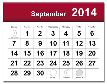 September 2014 calendar. Stock Vector - 21643835