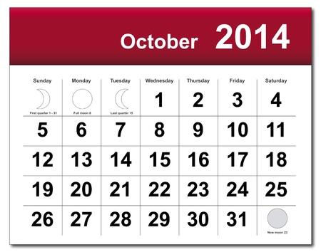 October 2014 calendar. Stock Vector - 21643848
