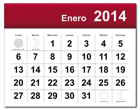 Spanish version of January 2014 calendar.  Vector