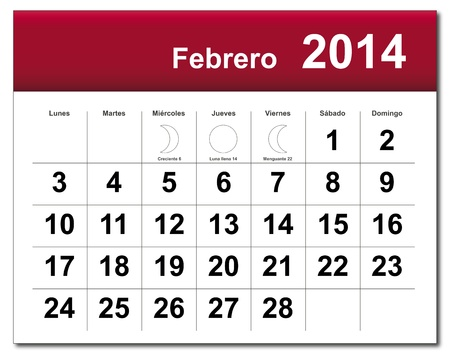 Spanish version of February 2014 calendar Vector