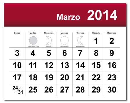 Spanish version of March 2014 calendar. Stock Vector - 21643841