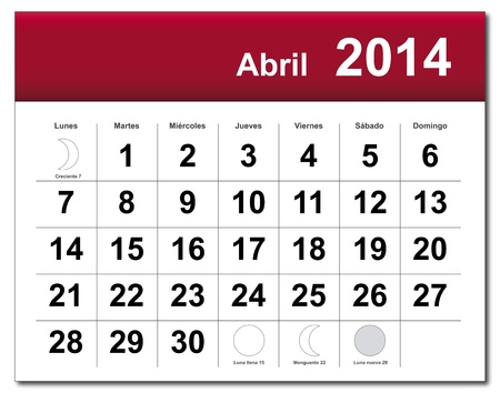 Spanish version of April 2014 calendar.  Vector