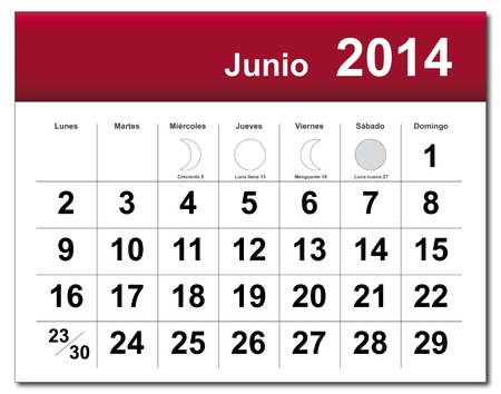 Spanish version of June 2014 calendar.available in my portfolio. Vector