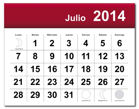 Spanish version of July 2014 calendar.  Vector